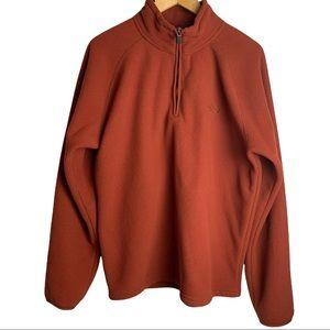 The North Face Men's Rust Orange Pullover Quarter Zip Fleece Sweater Size Medium